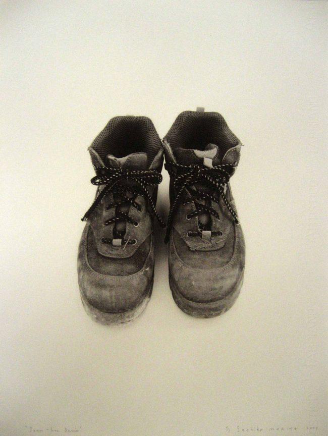 Sachiko Morita, portrait-chaussures de Jean-Luc Denis, responsable des espaces verts de la ville de Melle, Biennale de Melle