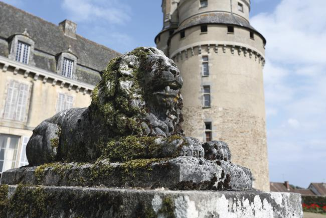 sculpture lion chateau