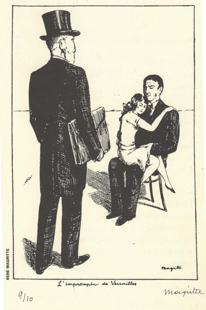 Magritte hommes en costume jeune fille