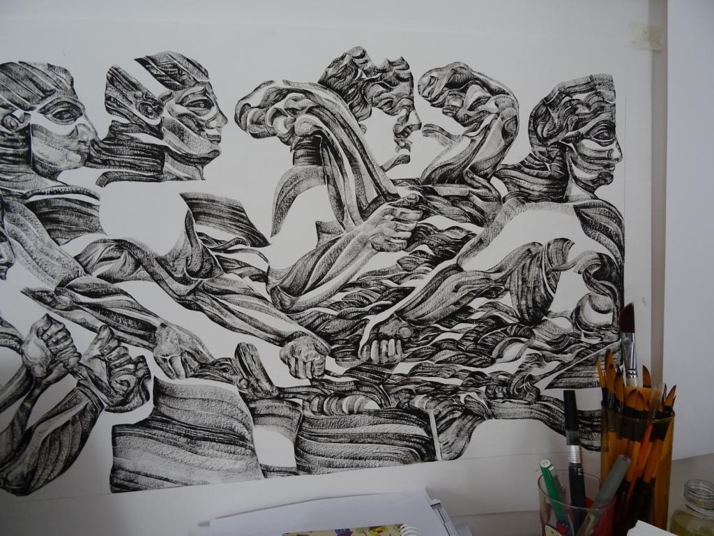 dessin personnages noir et blanc