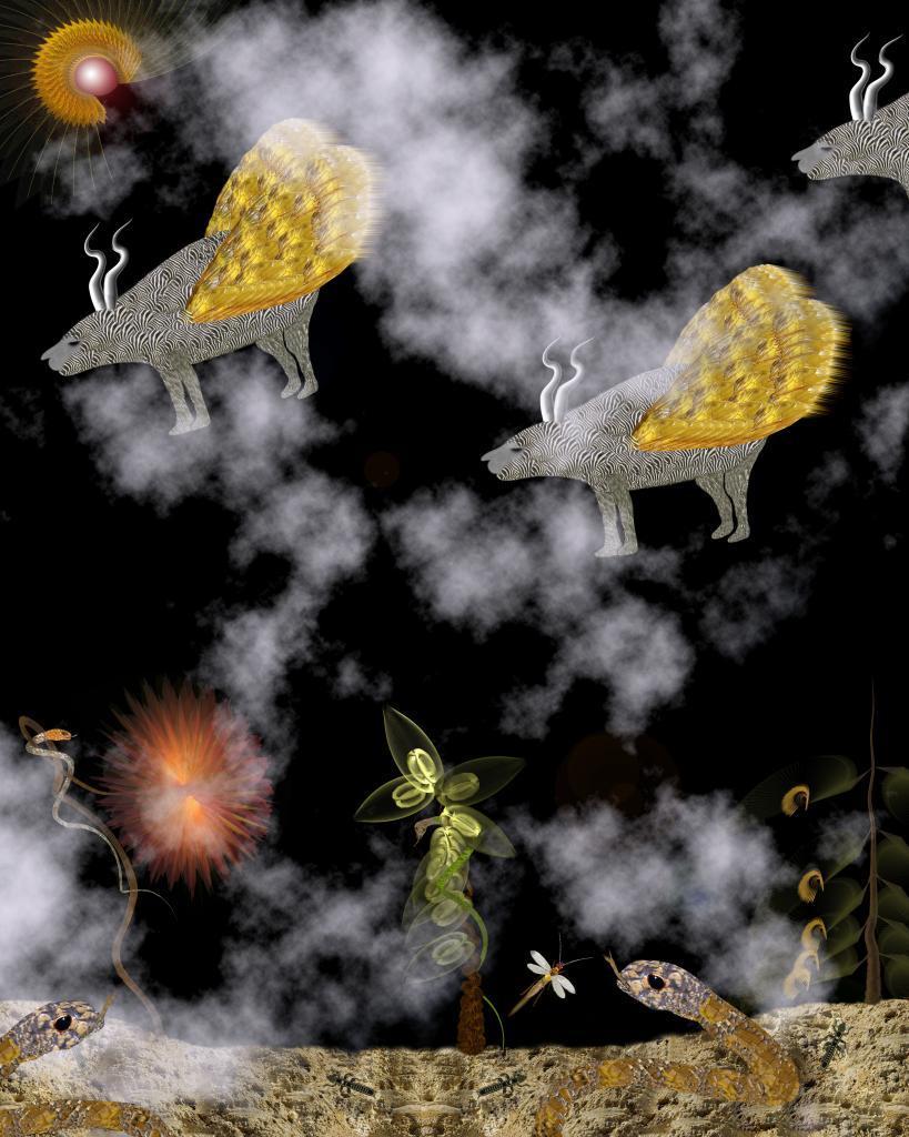 animaux volants île serpents désert fumée