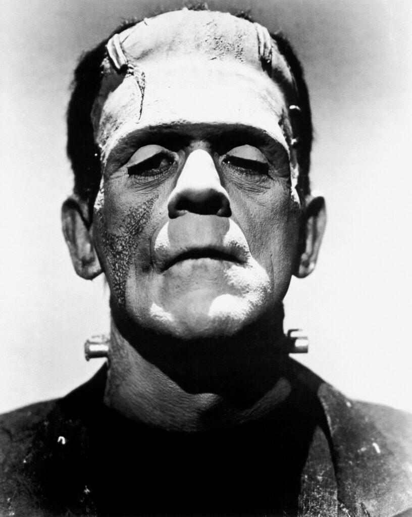 Boris Karloff dans le rôle du monstre de Frankenstein (image promotionnelle du film La Fiancée de Frankenstein, 1935)