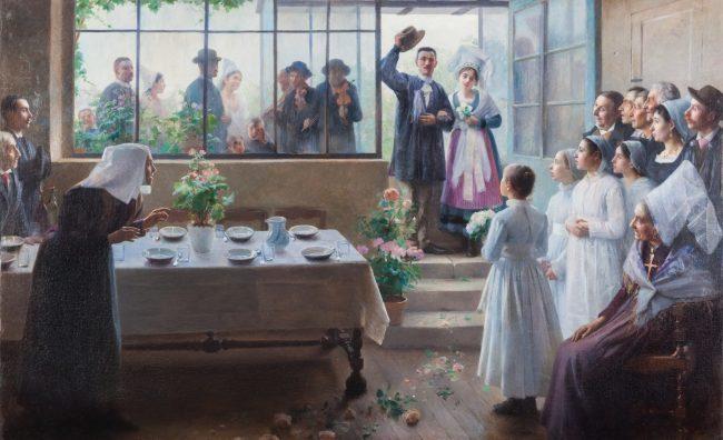 peinture représentant une scène de mariage, un jeune couple entre dans la salle à manger où les convives attendent. En arrière plan, on peut voir les musiciens à travers une grande vitre.